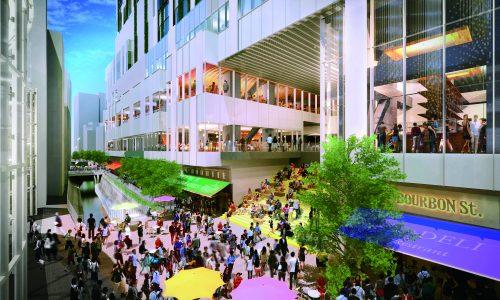 渋谷ストリーム前の賑わいイメージのパース_クレジット:(C)渋谷ストリーム