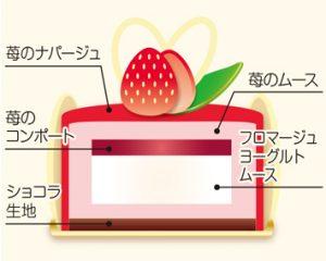苺のムースフロマージュ断面図